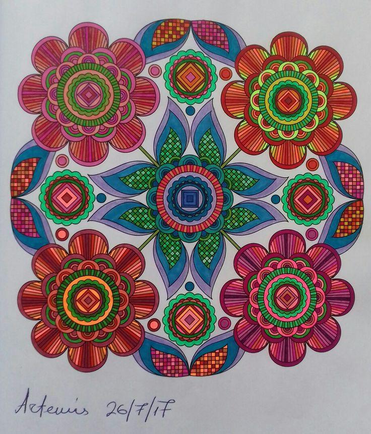 Week 63, 26072017. Flower designs vol. 1 by Jenean Morrison coloured by Artemis Anapnioti.