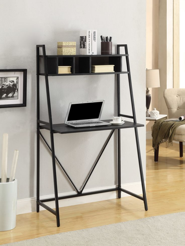 Features:  -Finish: Black.  Desk Type: -Leaning/Ladder desk.  Top Finish: -Black.  Base Finish: -Black.  Top Material: -Wood.  Base Material: -Metal. Dimensions:  Overall Height - Top to Bottom: -55.5