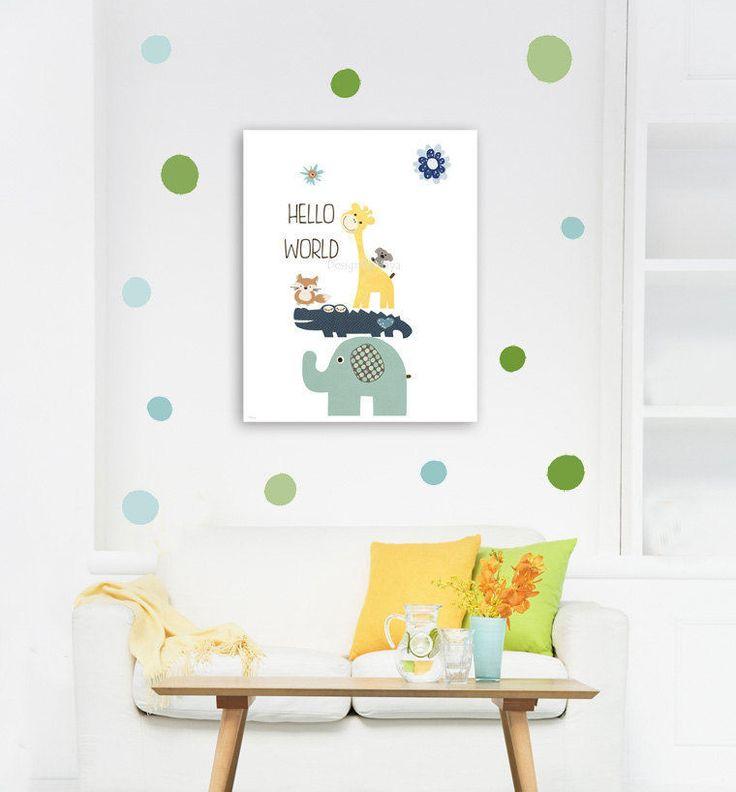 Baby Nursery Wall Art Plus Wall Decals, Polka Dot, Hello World, Kids Wall