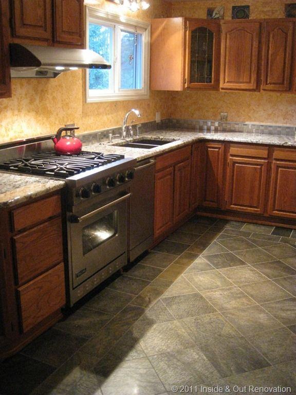 Kitchen Wood Slate Floor And Gray Granite Countertops