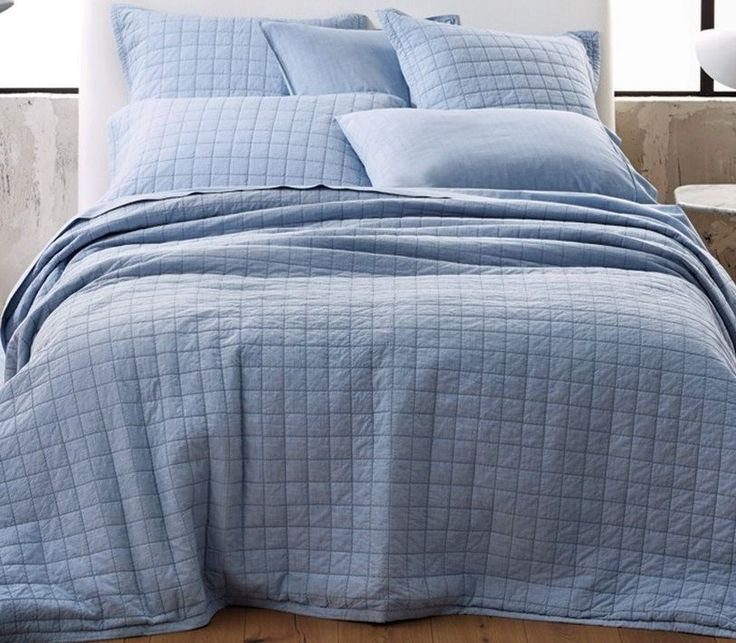 Sheridan Reilly Vintage Wash King Bed Cover in Chambray Blue BN RRP $299.95