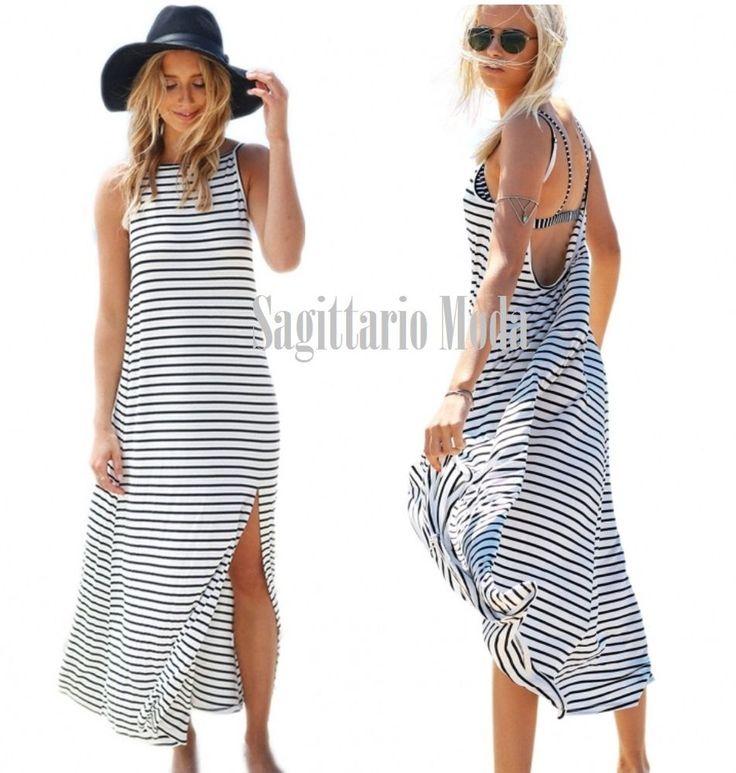 Maxi abito A RIGHE BIANCO NERO estivo mare spiaggia estate STRISCE vestito lungo