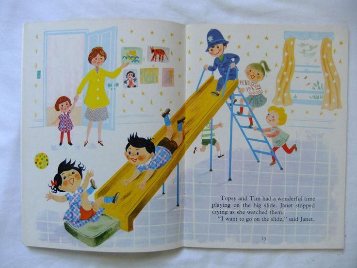 TOPSY AND TIM AT SCHOOL Jean & Gareth Adamson 1st 1968 Blackie Vintage Childrens