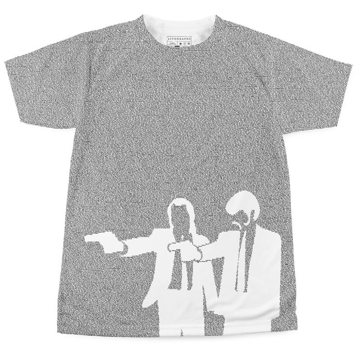 This t-shirt is created entirely from the text of Pulp Fiction. Up to 40,000 words per t-shirt.
