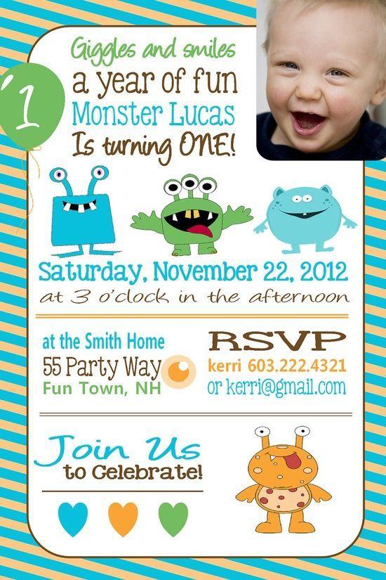 Best Birthday Theme Little Monsters Images On Pinterest - First birthday invitation wording boy