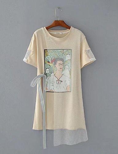 Feminino Camiseta Para Noite Casual Sensual Simples Moda de Rua Verão Outono,Sólido Estampado Algodão Decote Redondo Manga CurtaFina de 6108760 2017 por R$55,87