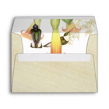 hummingbird birds flowers rice paper envelope paper envelopes