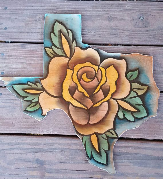 Yellow Rose of Texas wood cut out sign