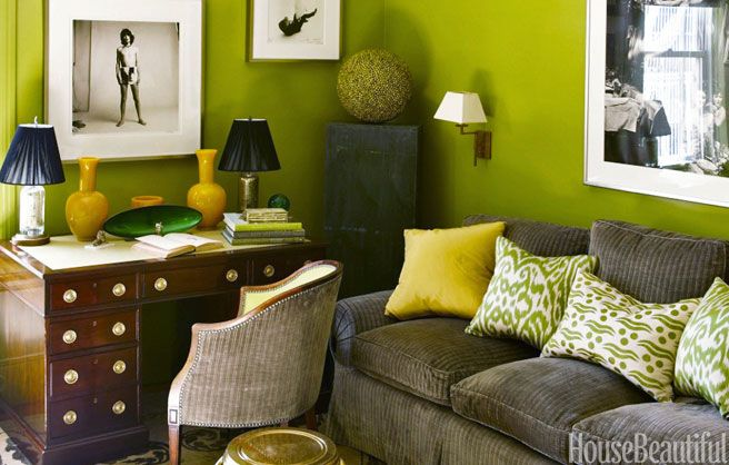 Designer: Amanda Nisbet  This green and yellow study originally appeared in House Beautiful