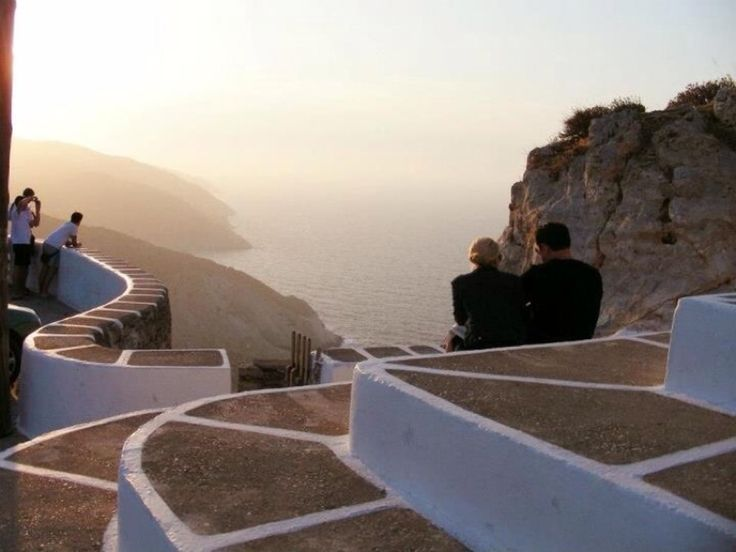 Folegandros Island, Greece - Sunset from Chora Town, Greek Island of Folegandros (Cyclades)
