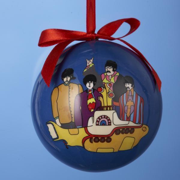 Beatles Yellow Submarine Decoupage Christmas Ball Tree Ornament New