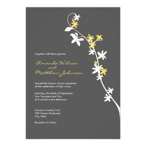 Grey And Yellow Wedding Invitations