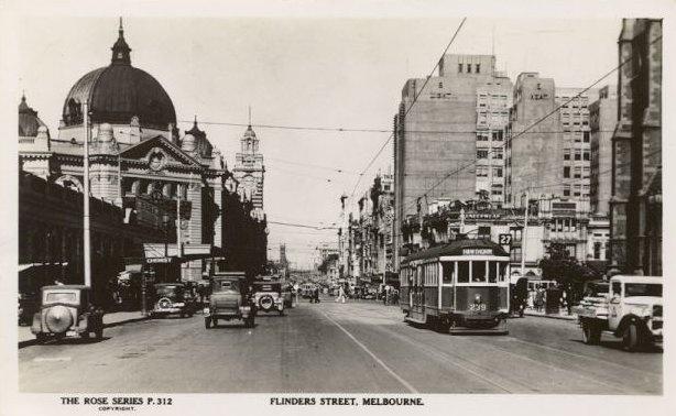 Flinders Street Melbourne Victoria Australia Vintage Rose Postcard