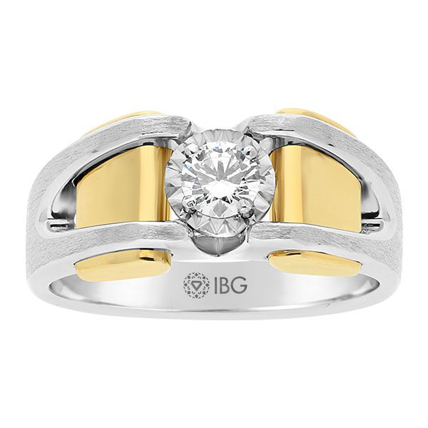 Miracle plate diamond solitaire men's ring from IBGoodman.