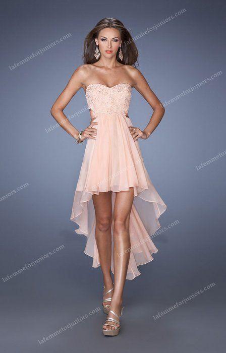 Open Back Chiffon Straps High Low Homecoming Dress By La Femme 19716