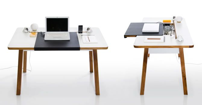 Different angles of StudioDesk with removable black cover pad for compartment drawer