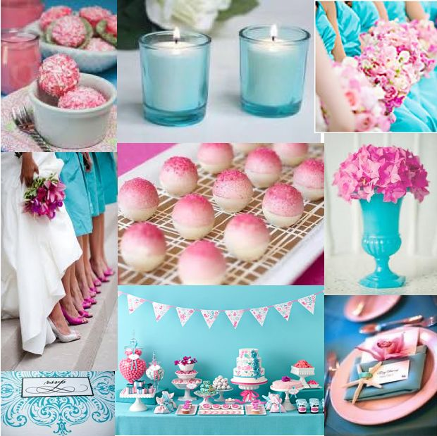 Colors: turquoise & pink and thinking of a flowers and butterfly (garden) theme