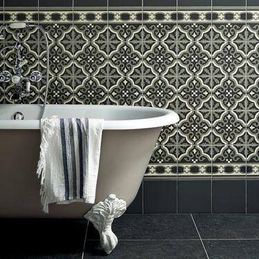 Carreaux de ciment, black & white, salle de bains