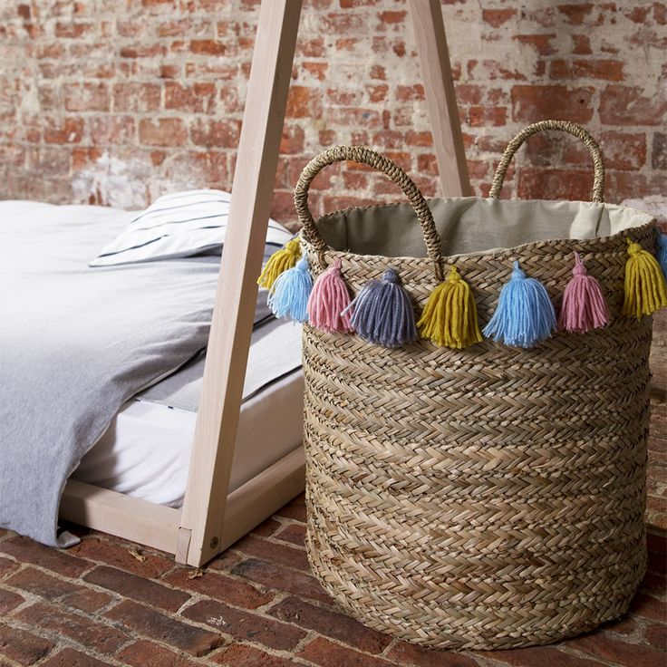 ROUND WOVEN STORAGE BASKET with Tassels | Colourful Bedroom Storage | Childhome | Kids Bedroom Accessories |
