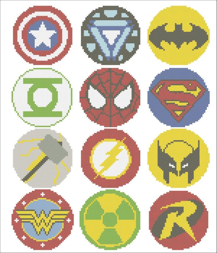 BOGO FREE! Superheroes Marvel logos comic characters Cross Stitch Pattern - pdf pattern instant download  #132 by Rainbowstitchcross on Etsy