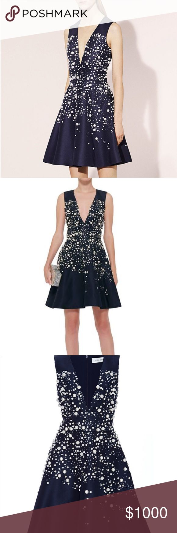 Silk Pearl Embellished Party Dress black 2 NWT Brand new black silk a line dress with Pearl embellishments. Size 2. Could squeeze a 4 in too. Beautiful rare dress. Sold out everywhere online. Prabal Gurung Dresses