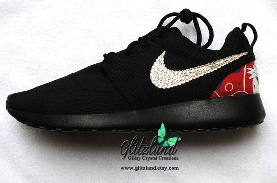 Swarovski Black Nike Roshe w  Minnie Mouse Or Mickey Mouse print heel  Blinged with SWAROVSKI® Crystals a700698e5008
