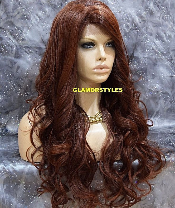 Long Wavy Layered Auburn Mix Full Lace Front Wig Heat Ok Hair Piece #T33.130 NWT #Layered
