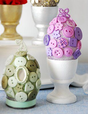 Button Covered Easter Eggs: Tutorial / http://dotcomwomen.com/crafts/button-covered-easter-eggs-easter-egg-decorating-idea/4198/