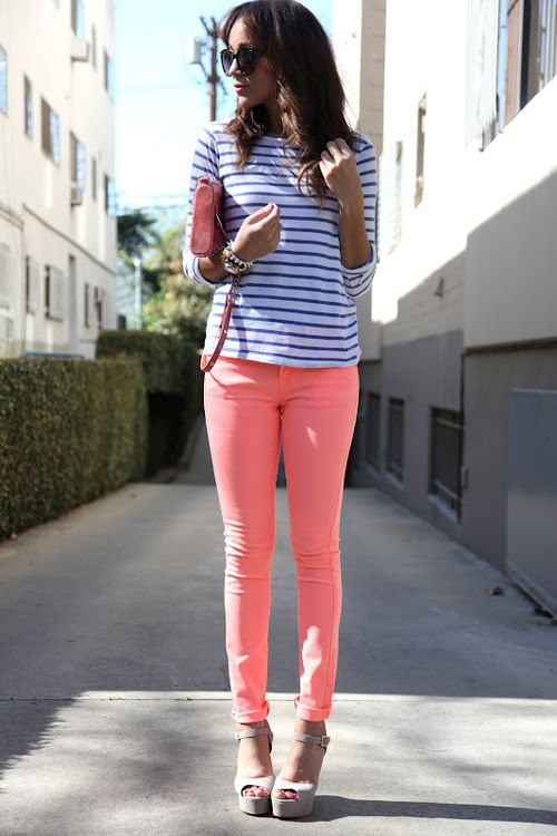 love these pastel salmon-colored pants with the royal blue striped tee!