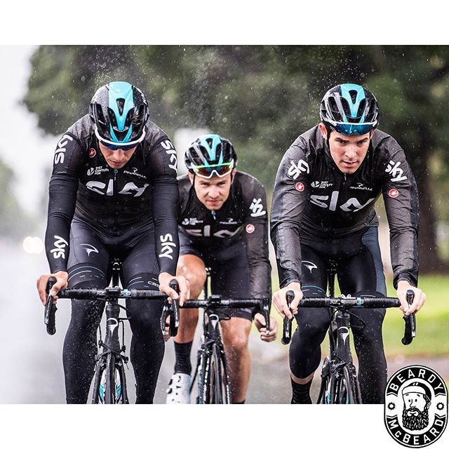 Luke Rowe,  Owain Doull,  Danny Van Poppel getting out for a ride. TDU 2017