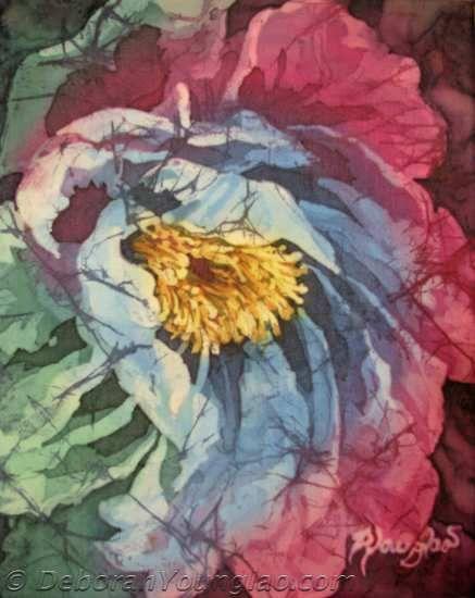 Дебора Younglao батик абстрактные цветочные пион роспись по шелку