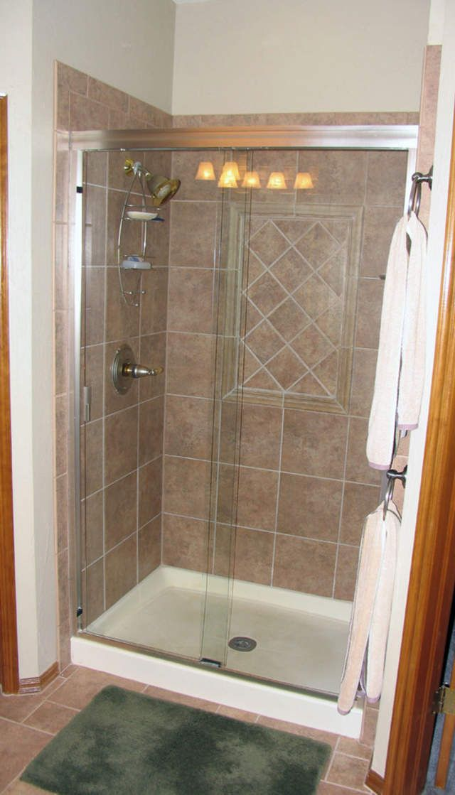 Stall showers for small bathrooms this is our shower door shower glen 37 year member of the for Bathroom shower stall replacement