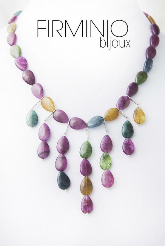 #Collana in gocce di #cristallo tormalinato con inserti in #argento 925. #necklace with tourmaline #crystal and #silver hooks. $149