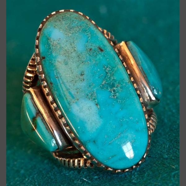 ARIZONA BISBEE TURQUOISE RING BY ERNIE LISTER