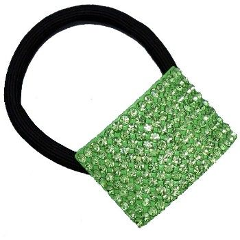 Peridot green crystal pony tail band available in other colours from WWW.GlitzyGlamour.co.uk