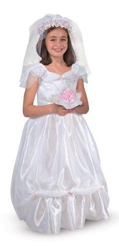 Bruids kostuum.  De echte bruid wordt jaloers als ze jouw ziet in deze prachtige bruidsjurk. Het is een hele mooie glanzende witte jurk voorzien van subtiele glitters. De accessoires bestaan uit een sluier, bruidsboeket met roze bloemen.