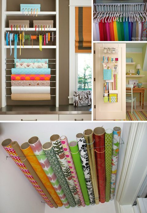 organization for crafts! :) I LOVE being organized!Wraps Organic, Wrapping Papers, Gift Wraps Storage Organic, Gift Wrapping, Ribbons Storage, Organic Ideas, Crafts Room, Paper Storage, Storage Ideas