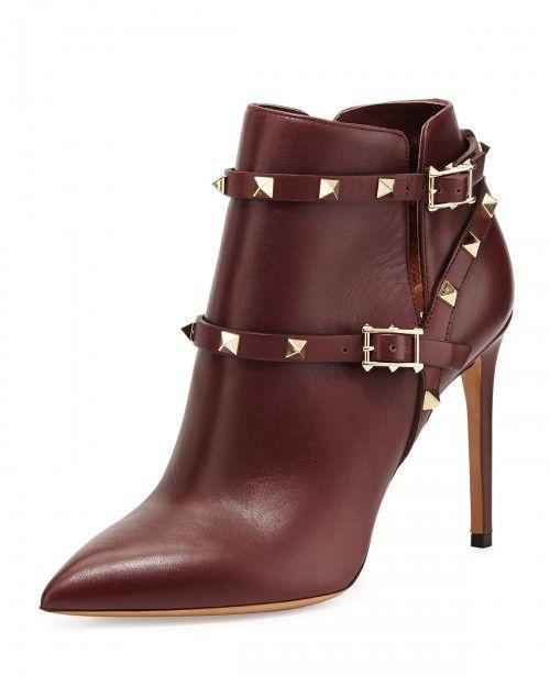 Valentino Rockstud Harness Ankle Boots Wine Wine 35 0b 5 0b | Footwear