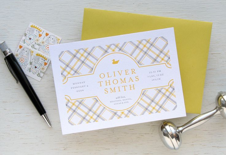 Delicate gingham plaid birth announcement in handsome color combination - yellow and gray. Baby | Tartan Plaid | Echo Letterpress