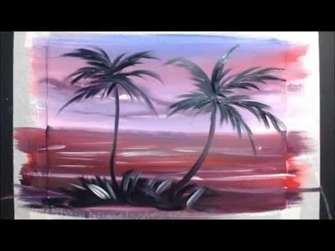 Картина за 3 минуты! Рисуем пальмочки - YouTube