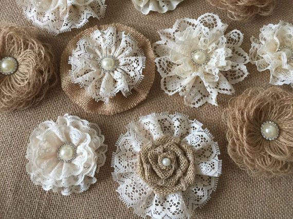 10 burlap and lace handmade flowers with metal rhinestone pearl buttons approximately between 3 - 4  *** Burlap and lace flowers are perfect for any kind of embellishing. They can be added to wedding cakes, bridal bouquets, headbands, hair clips, brooch pins, mason jars, vases, purses, tables, pillows, and much more.*** After i receive payment, please EXPECT approximately 1 to 2 weeks for your item to be made and prepared for shipment depending on size of order. +++++SHIPPING+++++  My…