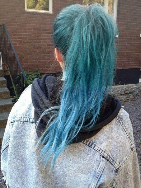 blue dyed hair and jeans