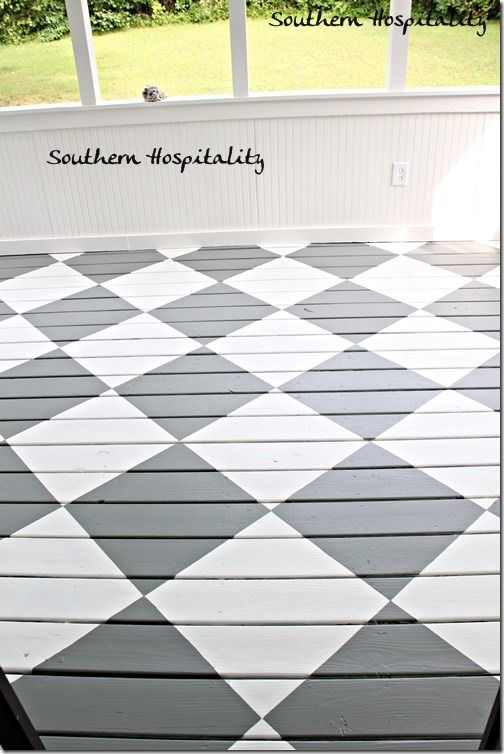 How to Paint Diamonds on the Floor - Southern Hospitality