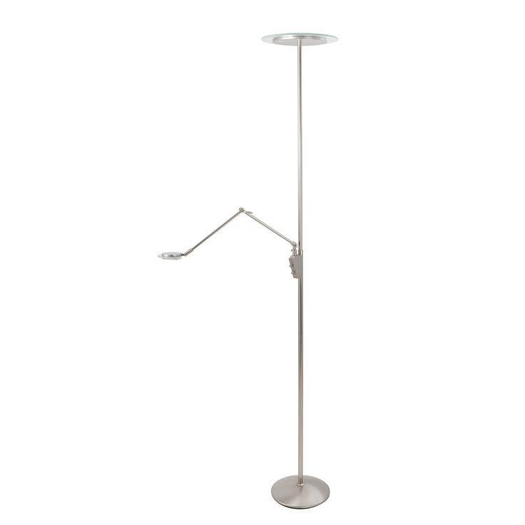 EEK A+, LED-Stehleuchte Whisper 3-flammig - Nickel matt, Steinhauer