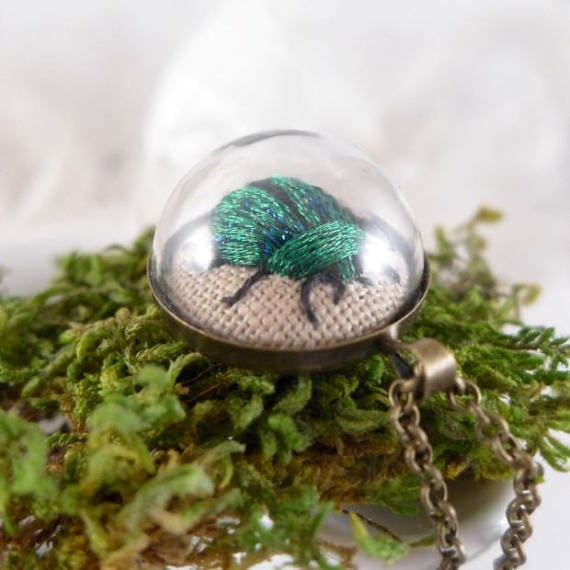 green beetle Necklace embroidered TERRARIUM by atelierBrocante