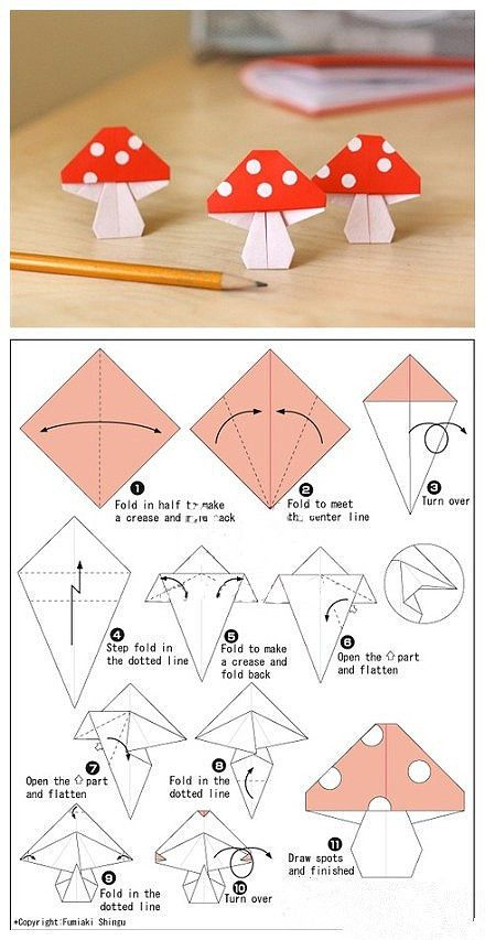 Origami DIY, Origami Crafts for Kids, Free Printable Origami Patterns, Tutorial, crafts, paper crafts, printable kids activities Cute Adorable Origami Toadstool Mushroom Origami Paper Crafts for Kids, cool teen crafts...Please Repin, Comment, Like & Follow.