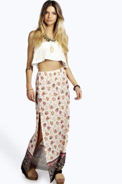 Blaire Border Print Festival Maxi Skirt