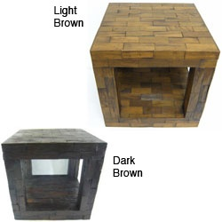 Reclaimed Teak Cube Accent Table (Thailand) | Overstock.com: Pattern