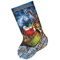 Dimensions Crafts Needlecrafts Gold Collection Counted Cross Stitch Stocking Kit, Santa's Flight