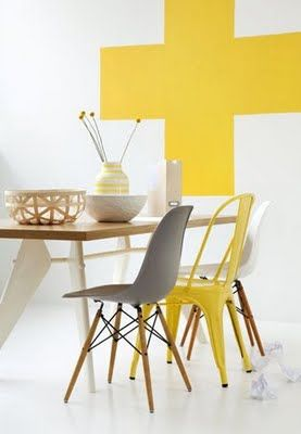 White room yellow cross dining room different chairs yellow and gray eiffel | DelysiaStyle